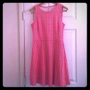 NY&Co Pink Print Fit and Flare Dress w/ Pockets